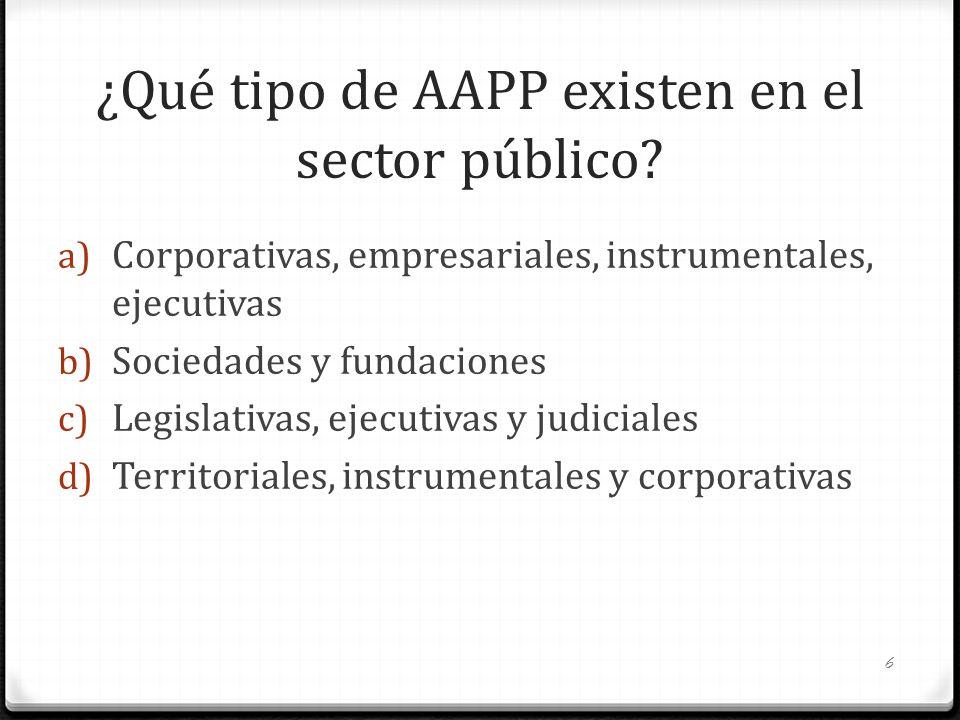 ¿Qué tipo de AAPP existen en el sector público