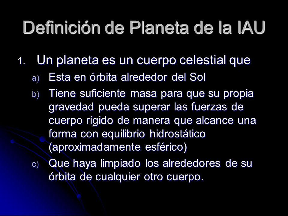 Definición de Planeta de la IAU