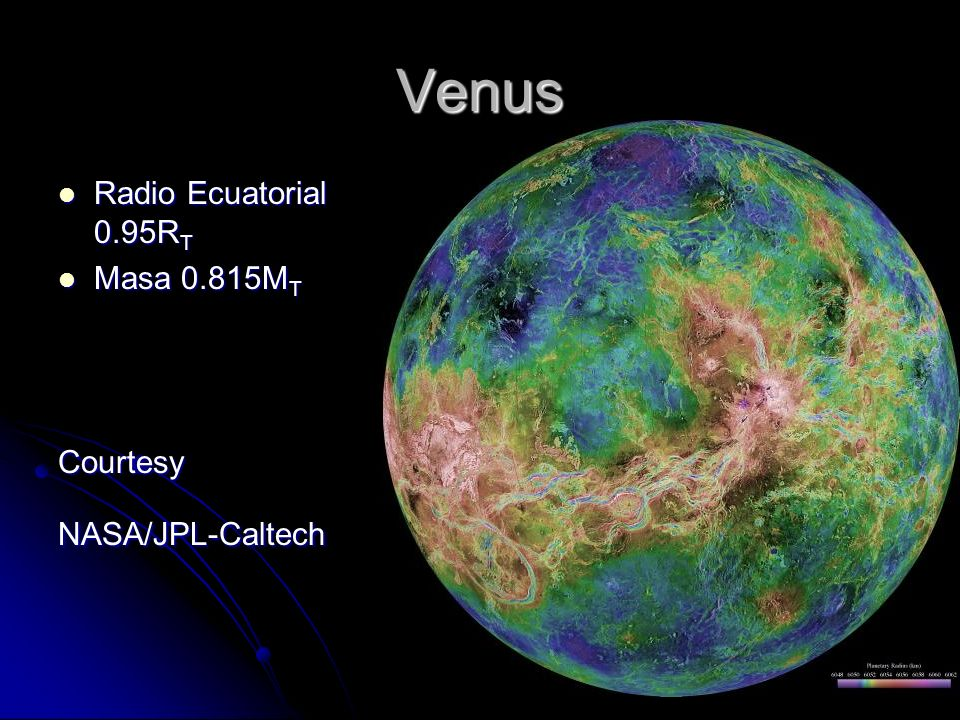 Venus Radio Ecuatorial 0.95RT Masa 0.815MT Courtesy NASA/JPL-Caltech