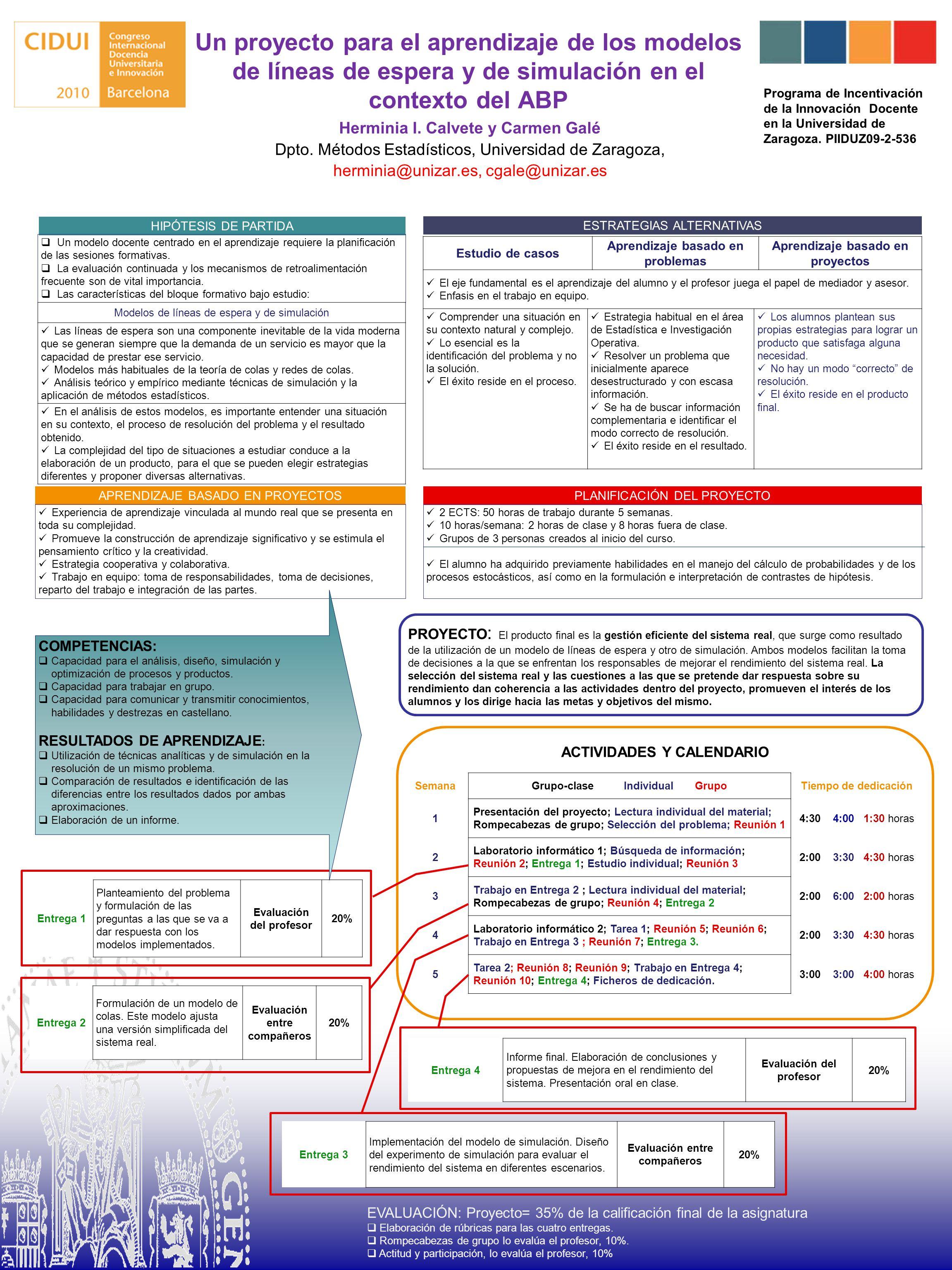Un proyecto para el aprendizaje de los modelos de líneas de espera y de simulación en el contexto del ABP