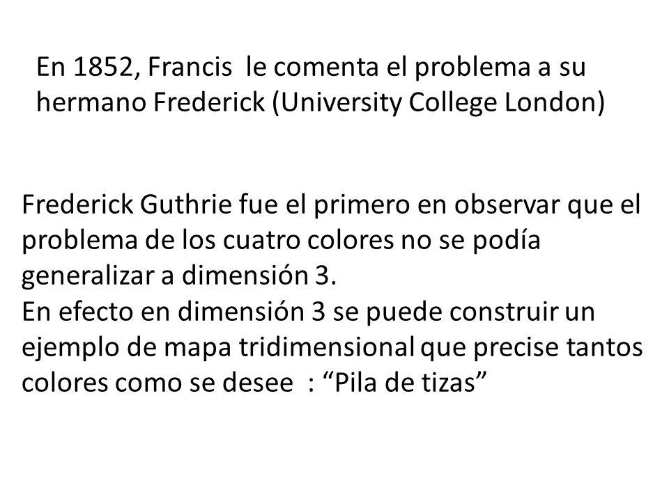 En 1852, Francis le comenta el problema a su hermano Frederick (University College London)