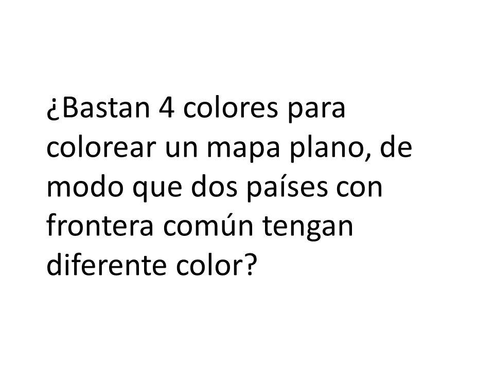 ¿Bastan 4 colores para colorear un mapa plano, de modo que dos países con frontera común tengan diferente color