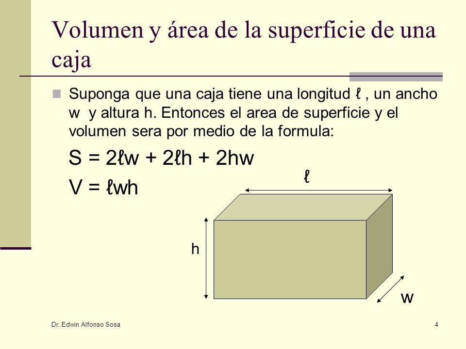Volumen y área de la superficie de una caja
