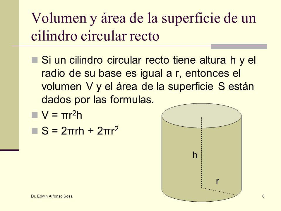 Volumen y área de la superficie de un cilindro circular recto
