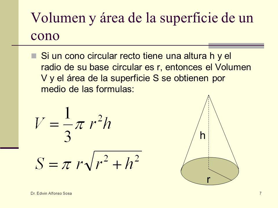 Volumen y área de la superficie de un cono