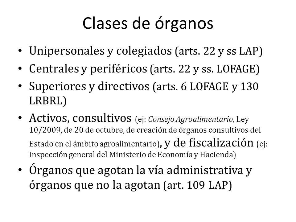Clases de órganos Unipersonales y colegiados (arts. 22 y ss LAP)
