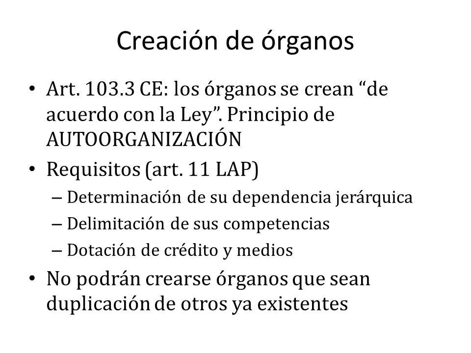 Creación de órganos Art. 103.3 CE: los órganos se crean de acuerdo con la Ley . Principio de AUTOORGANIZACIÓN.