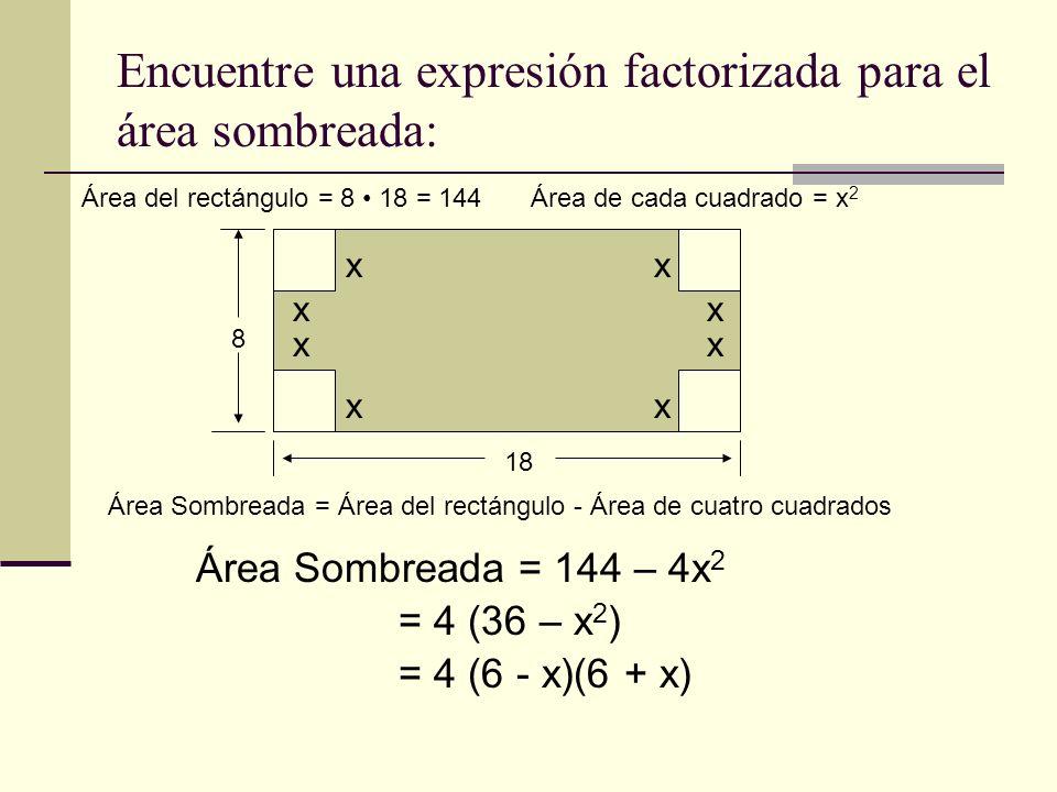 Encuentre una expresión factorizada para el área sombreada: