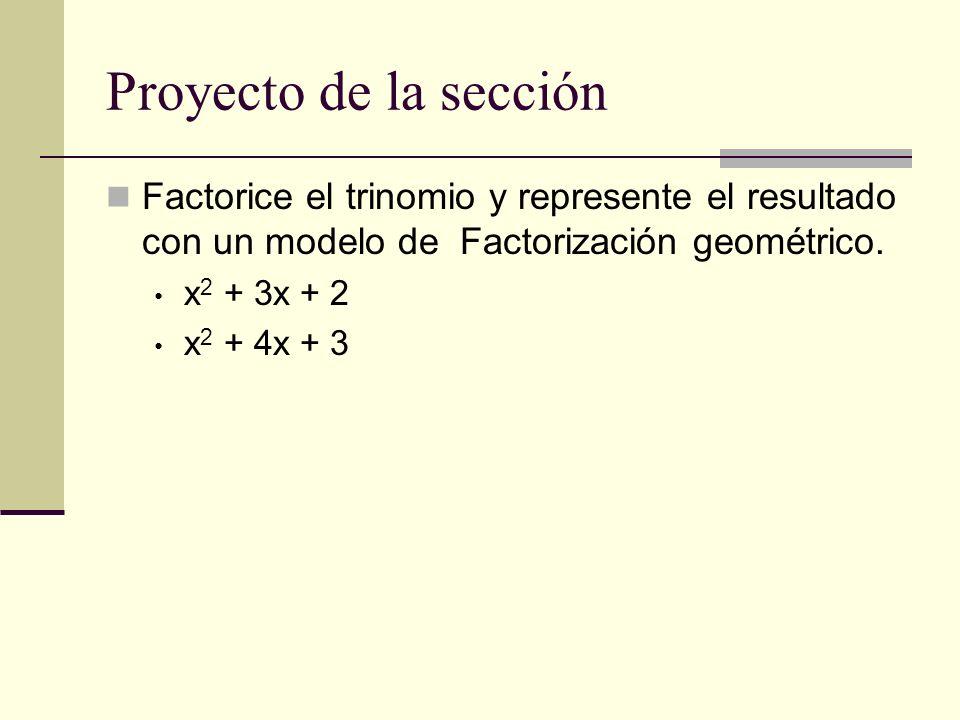 Proyecto de la secciónFactorice el trinomio y represente el resultado con un modelo de Factorización geométrico.