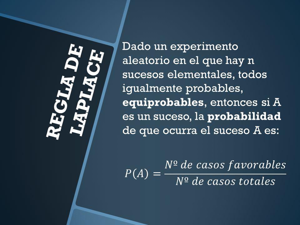 Dado un experimento aleatorio en el que hay n sucesos elementales, todos igualmente probables, equiprobables, entonces si A es un suceso, la probabilidad de que ocurra el suceso A es: 𝑃 𝐴 = 𝑁º 𝑑𝑒 𝑐𝑎𝑠𝑜𝑠 𝑓𝑎𝑣𝑜𝑟𝑎𝑏𝑙𝑒𝑠 𝑁º 𝑑𝑒 𝑐𝑎𝑠𝑜𝑠 𝑡𝑜𝑡𝑎𝑙𝑒𝑠