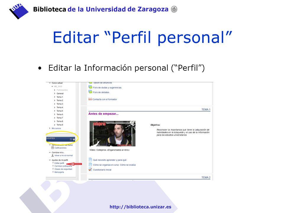 Editar Perfil personal