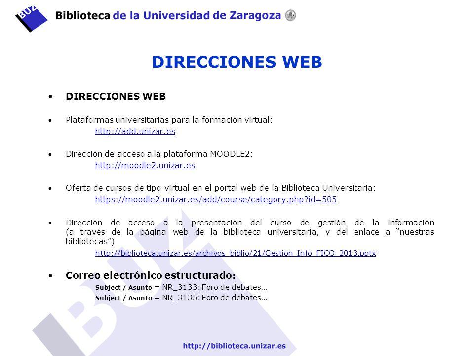 DIRECCIONES WEB DIRECCIONES WEB Correo electrónico estructurado: