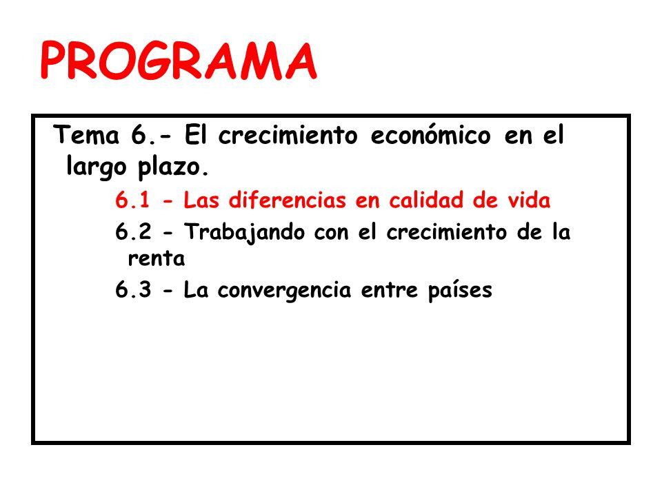 PROGRAMA Tema 6.- El crecimiento económico en el largo plazo.