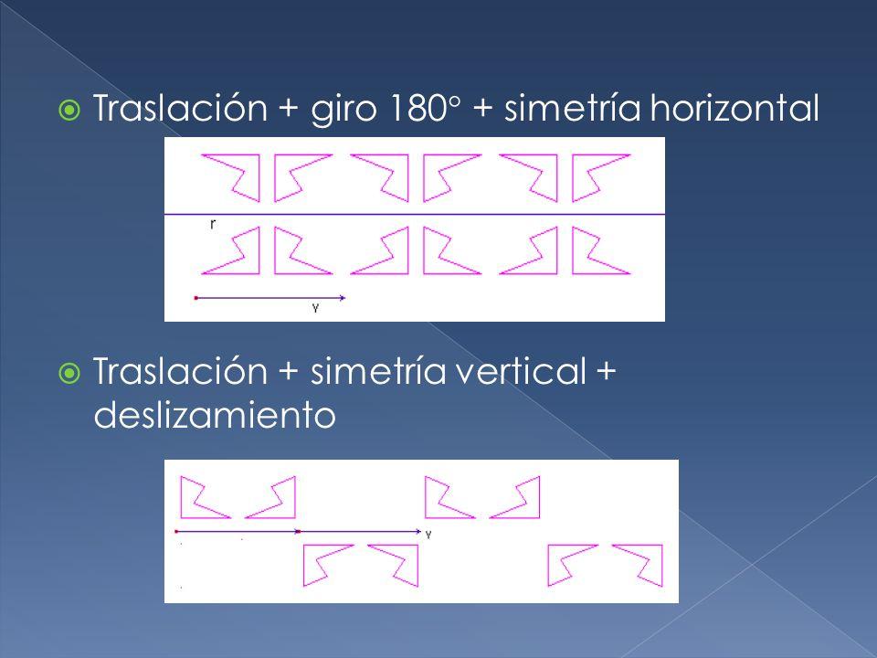 Traslación + giro 180 + simetría horizontal