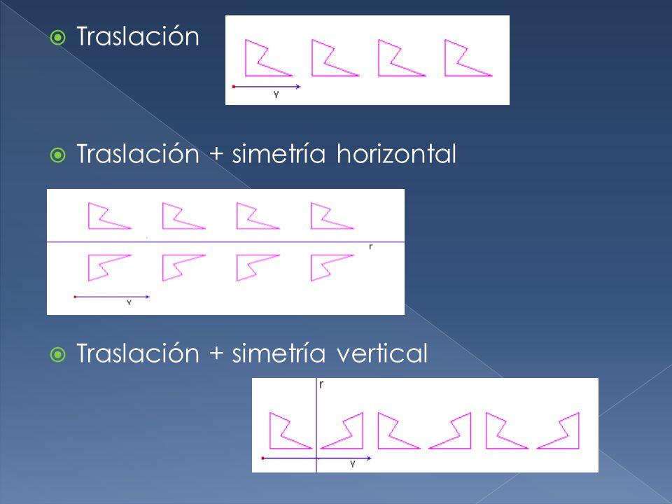 Traslación Traslación + simetría horizontal Traslación + simetría vertical