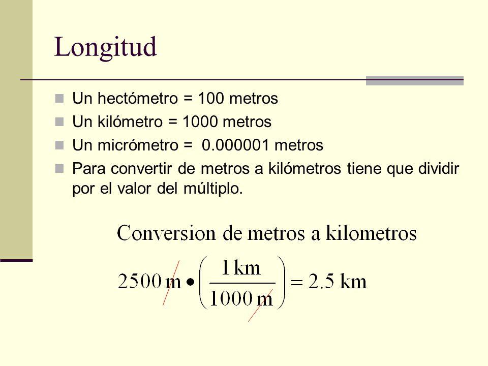 Longitud Un hectómetro = 100 metros Un kilómetro = 1000 metros