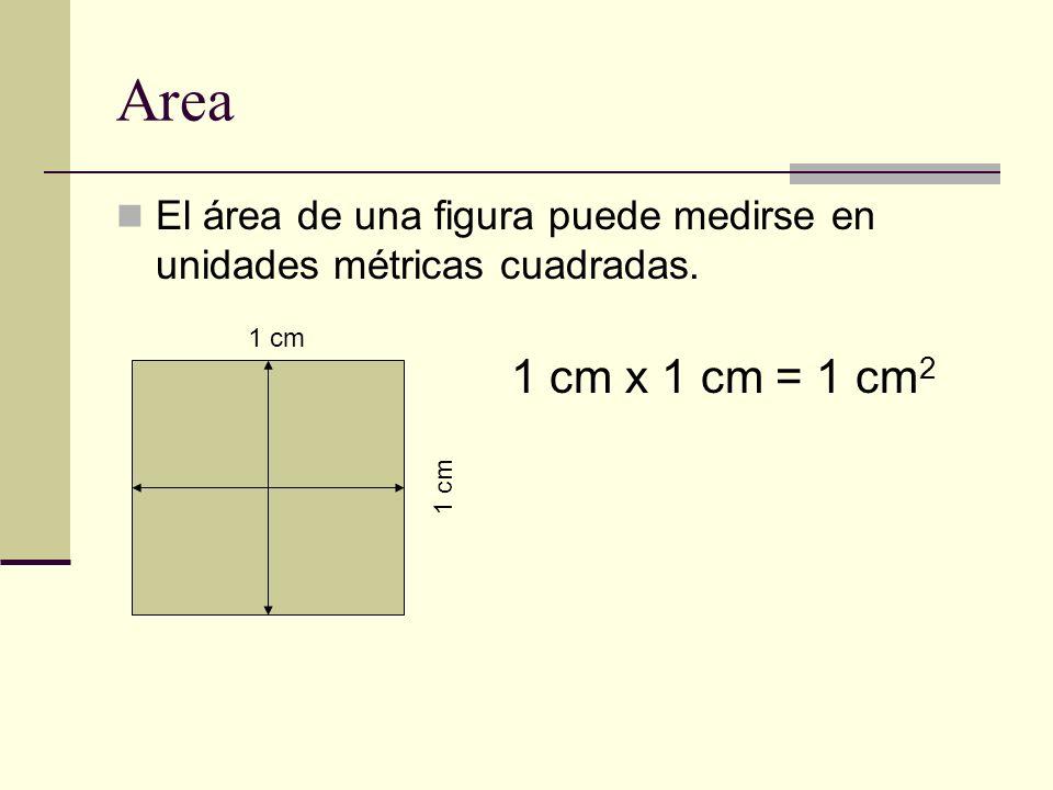 Area El área de una figura puede medirse en unidades métricas cuadradas. 1 cm 1 cm x 1 cm = 1 cm2