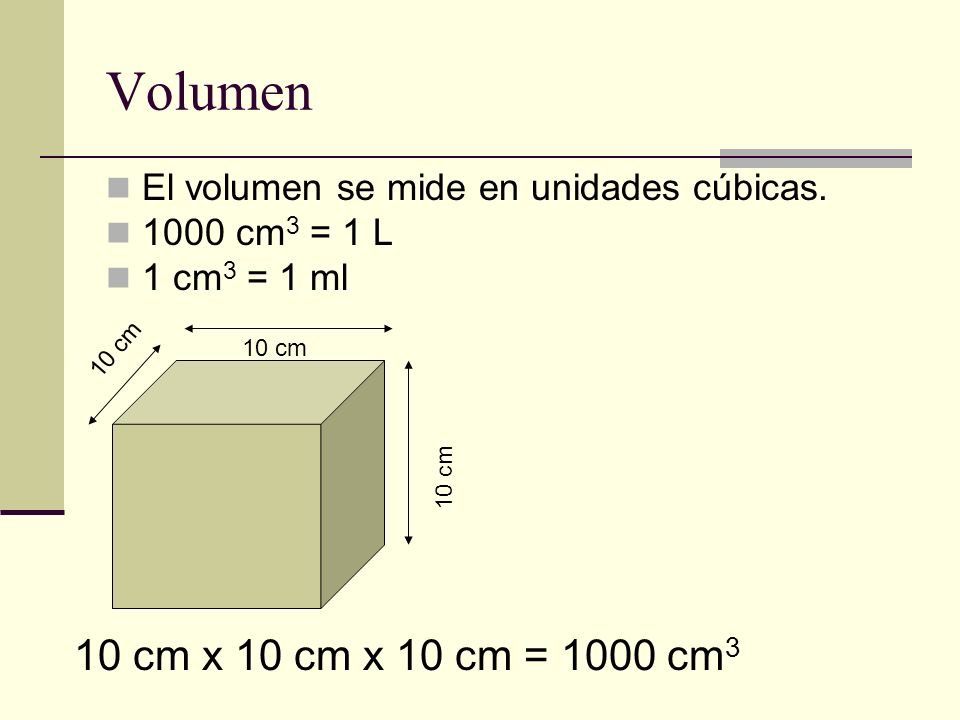 VolumenEl volumen se mide en unidades cúbicas.1000 cm3 = 1 L.