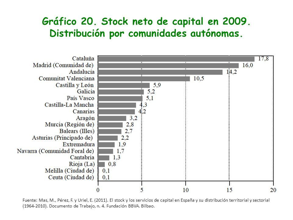 Gráfico 20. Stock neto de capital en 2009