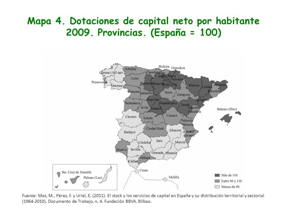 Mapa 4. Dotaciones de capital neto por habitante 2009. Provincias
