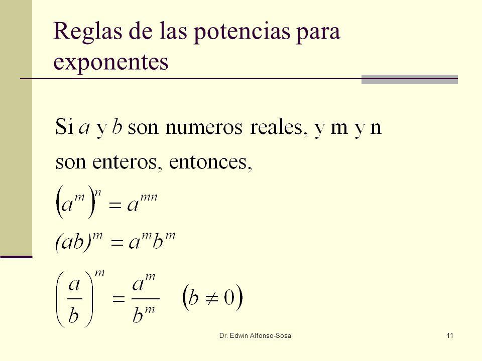Reglas de las potencias para exponentes