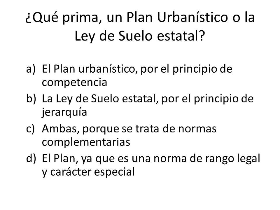¿Qué prima, un Plan Urbanístico o la Ley de Suelo estatal