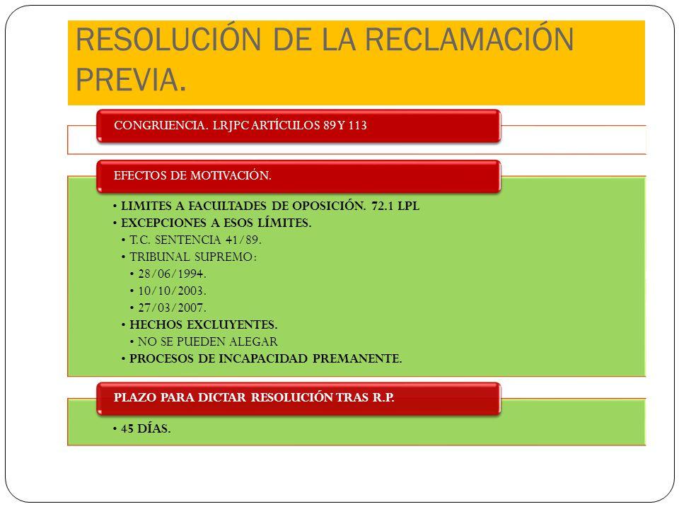 RESOLUCIÓN DE LA RECLAMACIÓN PREVIA.