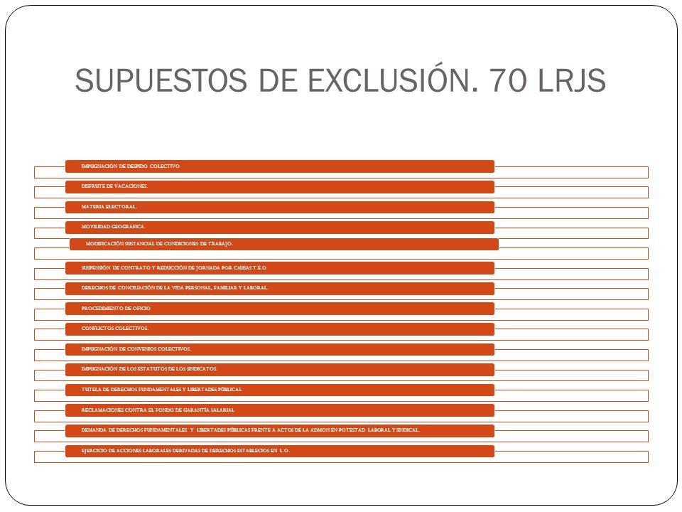 SUPUESTOS DE EXCLUSIÓN. 70 LRJS