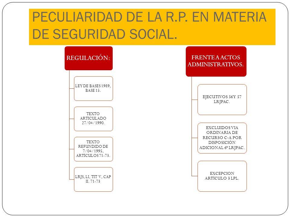 PECULIARIDAD DE LA R.P. EN MATERIA DE SEGURIDAD SOCIAL.