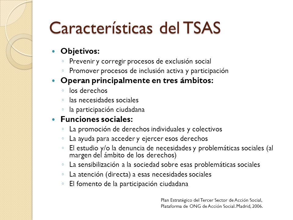 Características del TSAS