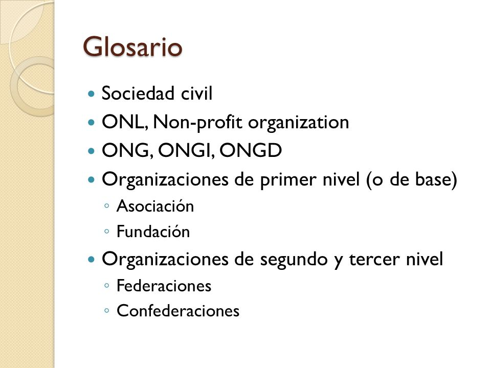 Glosario Sociedad civil ONL, Non-profit organization ONG, ONGI, ONGD