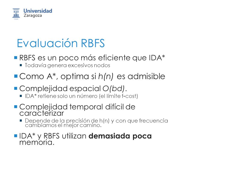 Evaluación RBFS Como A*, optima si h(n) es admisible
