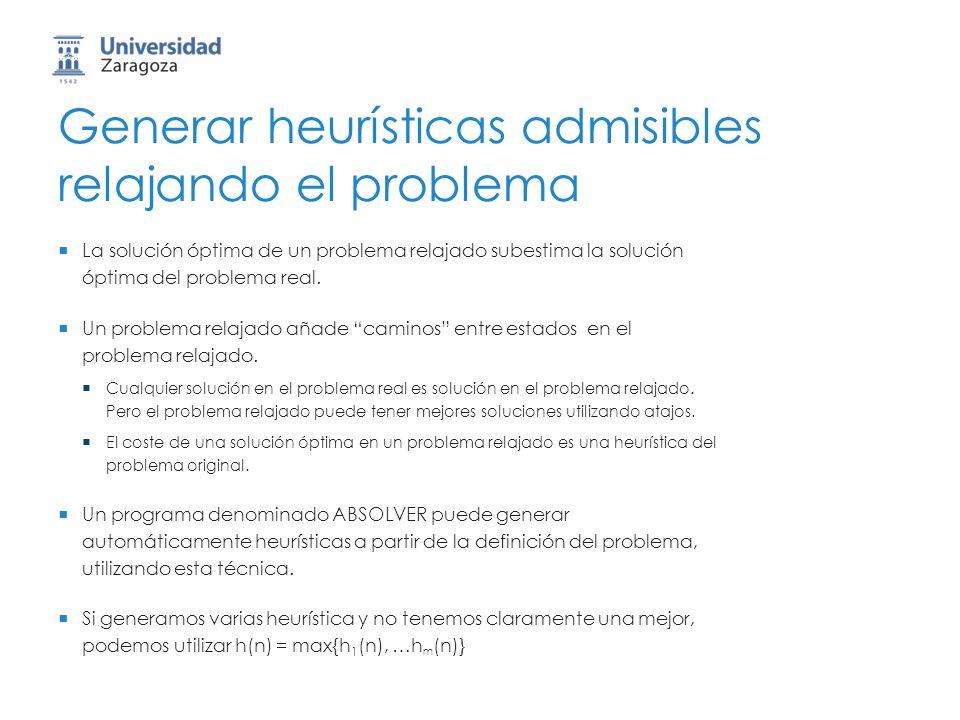 Generar heurísticas admisibles relajando el problema