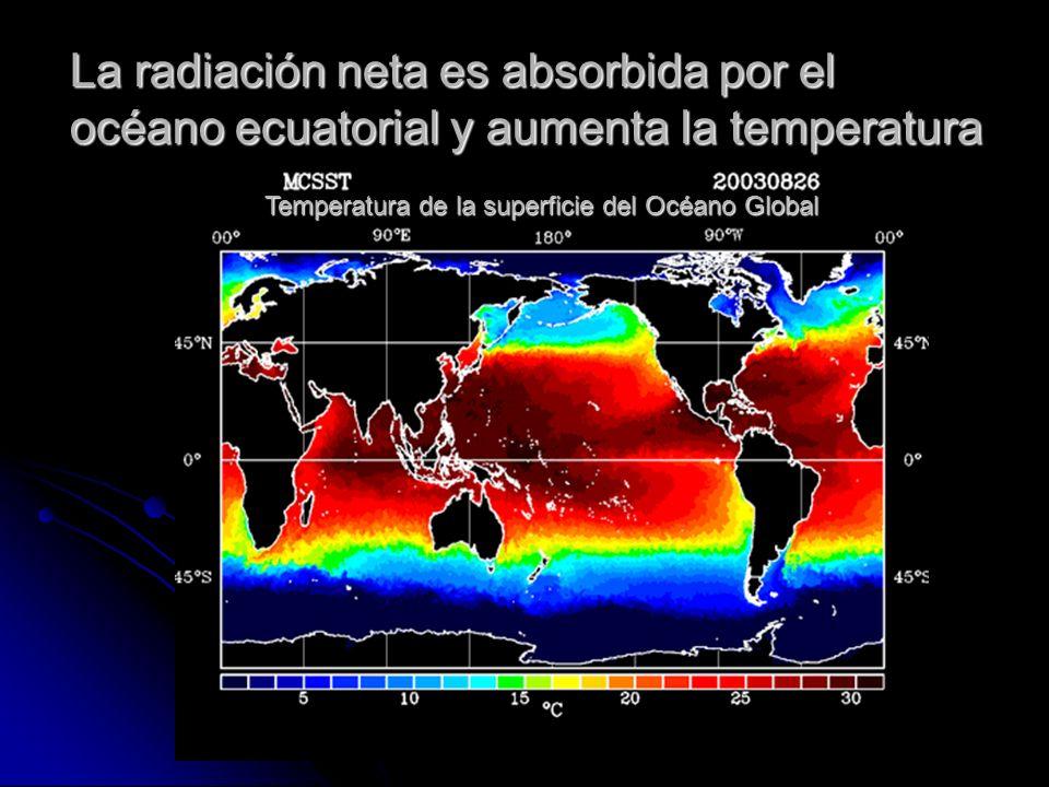 La radiación neta es absorbida por el océano ecuatorial y aumenta la temperatura