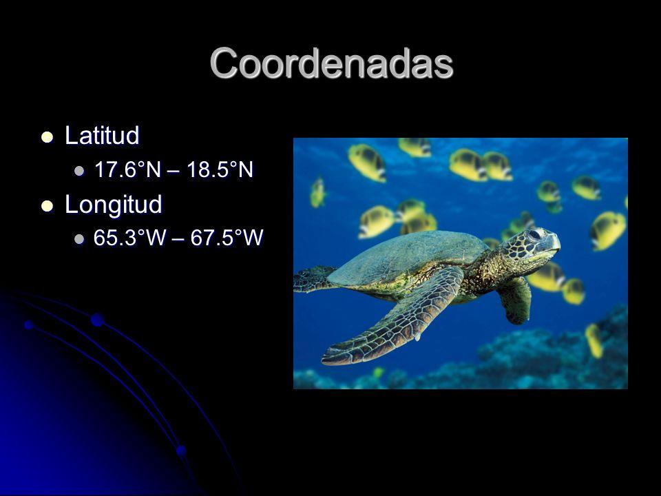 Coordenadas Latitud 17.6°N – 18.5°N Longitud 65.3°W – 67.5°W