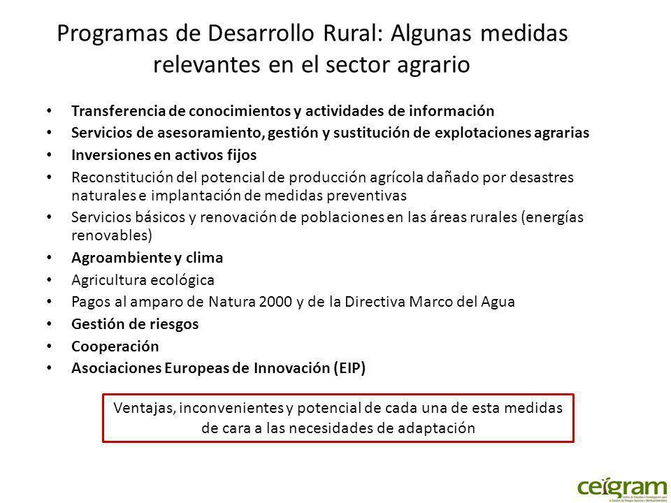 Programas de Desarrollo Rural: Algunas medidas relevantes en el sector agrario