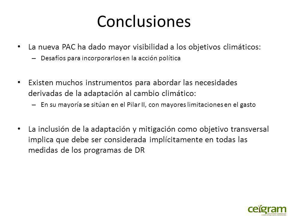 Conclusiones La nueva PAC ha dado mayor visibilidad a los objetivos climáticos: Desafíos para incorporarlos en la acción política.