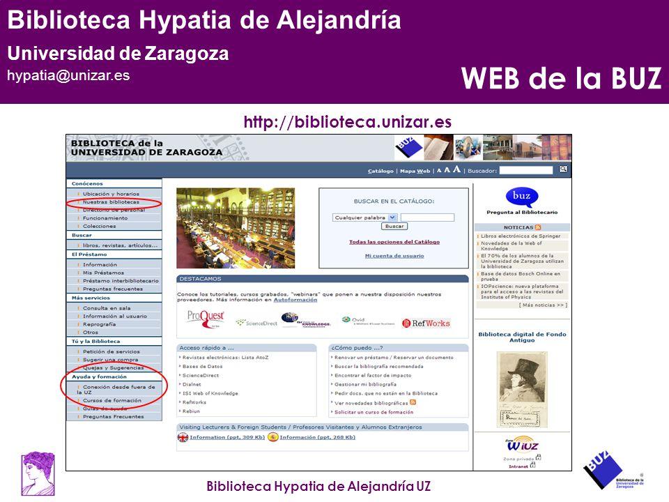 WEB de la BUZ http://biblioteca.unizar.es