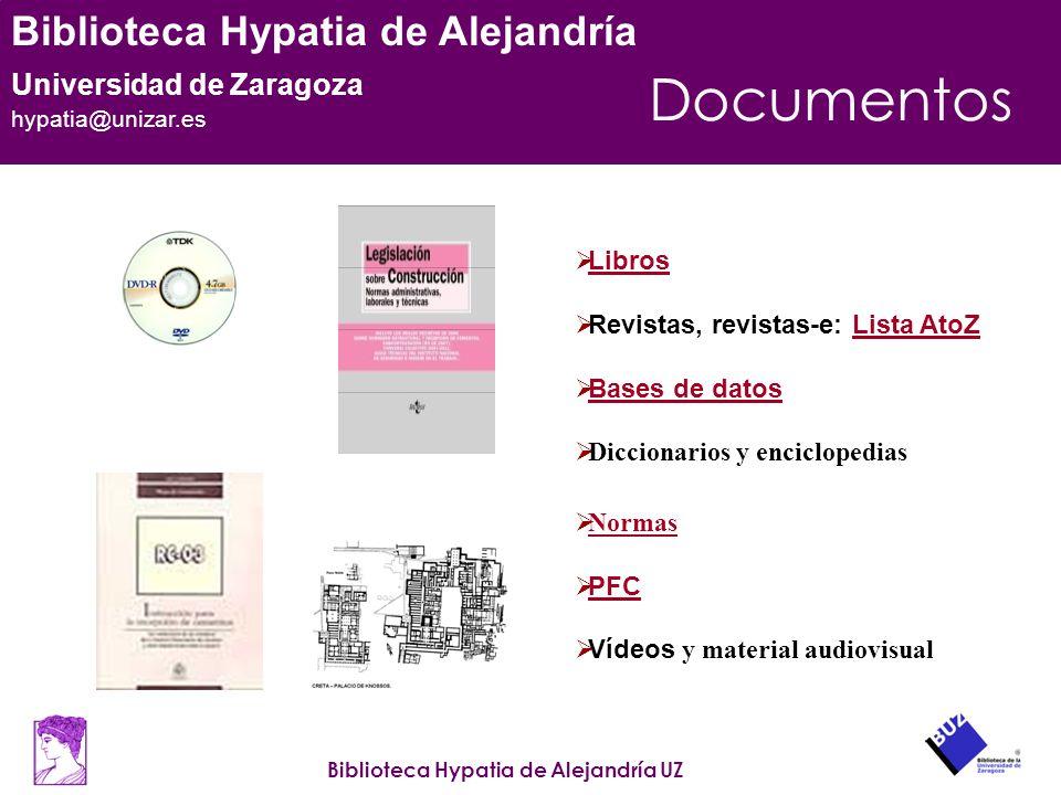 Documentos Libros Revistas, revistas-e: Lista AtoZ Bases de datos