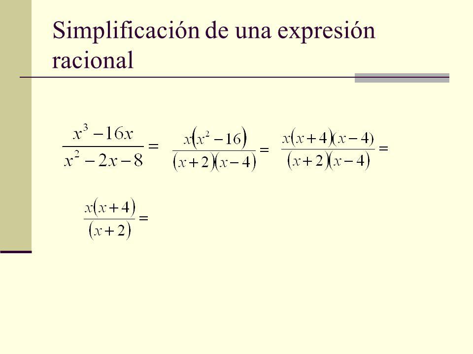 Simplificación de una expresión racional