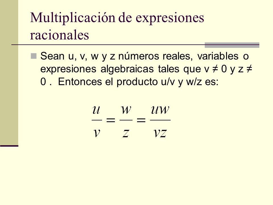 Multiplicación de expresiones racionales