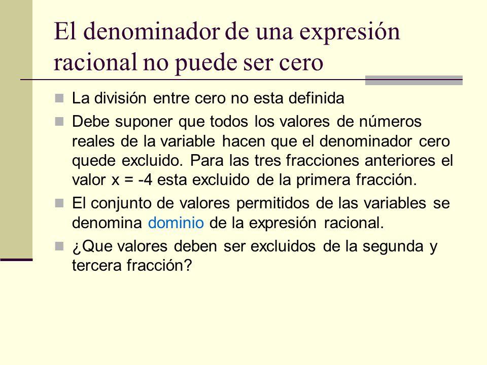 El denominador de una expresión racional no puede ser cero