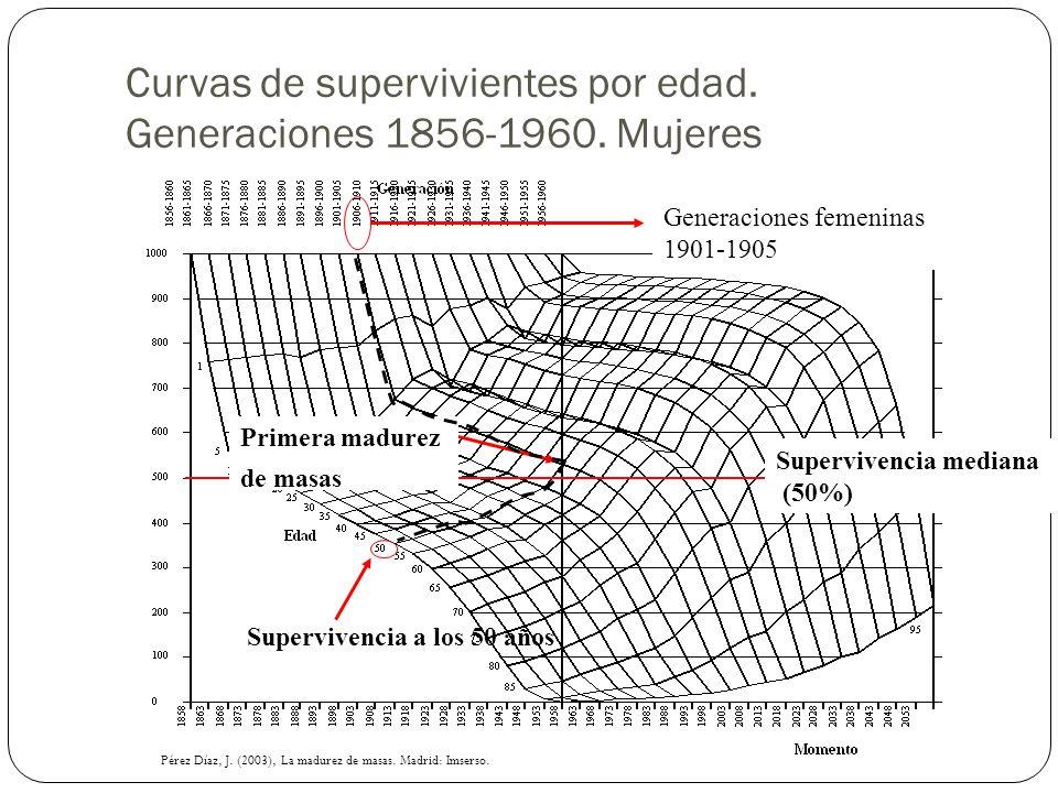 Curvas de supervivientes por edad. Generaciones 1856-1960. Mujeres