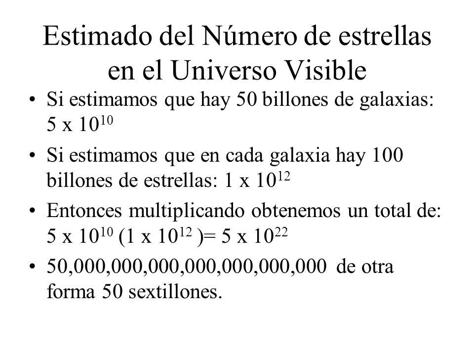 Estimado del Número de estrellas en el Universo Visible