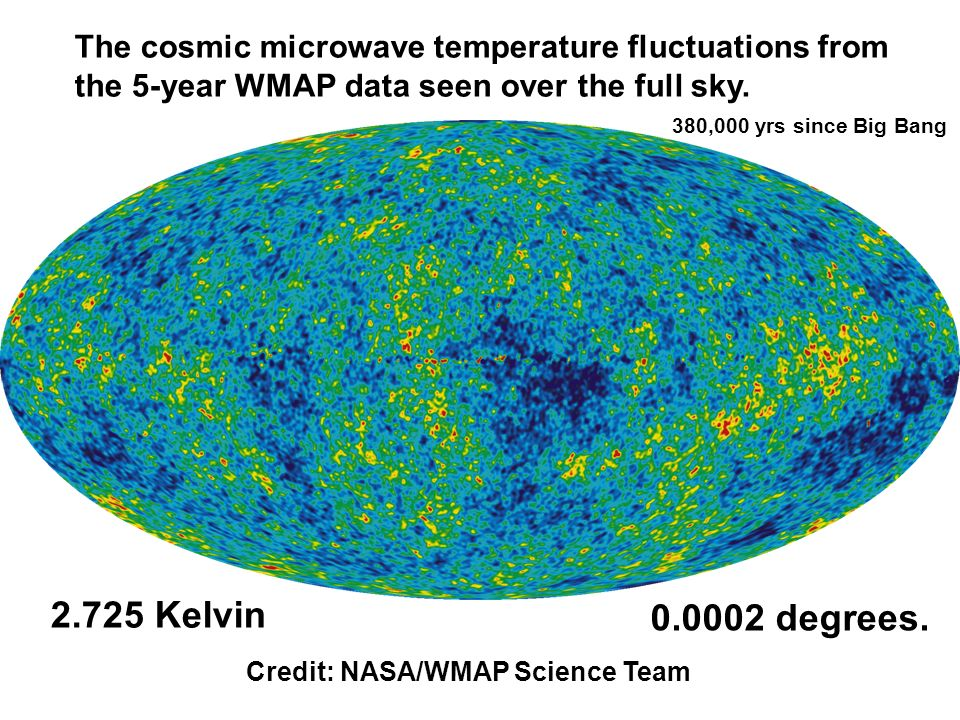 The cosmic microwave temperature fluctuations from the 5-year WMAP data seen over the full sky.