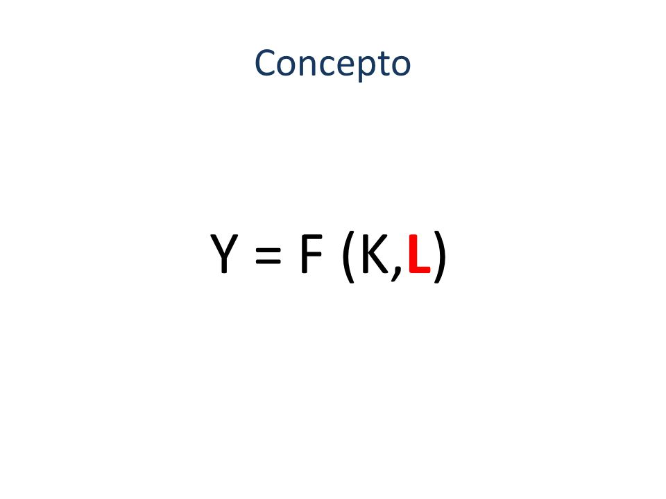 Concepto Y = F (K,L)