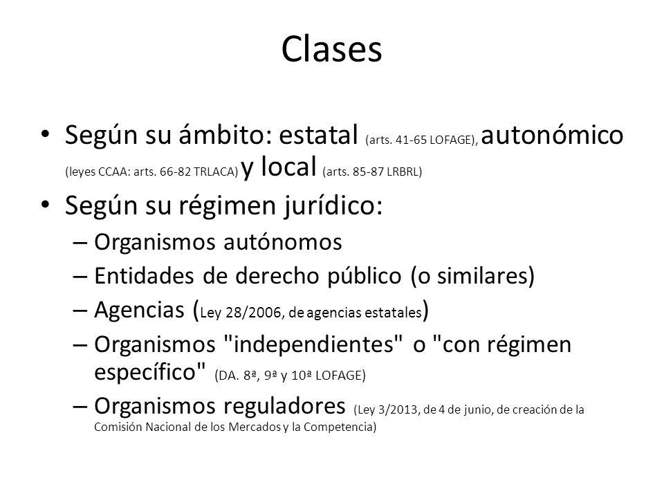 Clases Según su ámbito: estatal (arts. 41-65 LOFAGE), autonómico (leyes CCAA: arts. 66-82 TRLACA) y local (arts. 85-87 LRBRL)