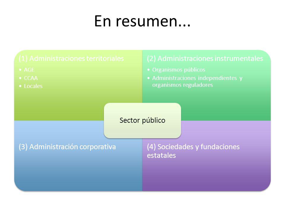 En resumen... Sector público (1) Administraciones territoriales AGE