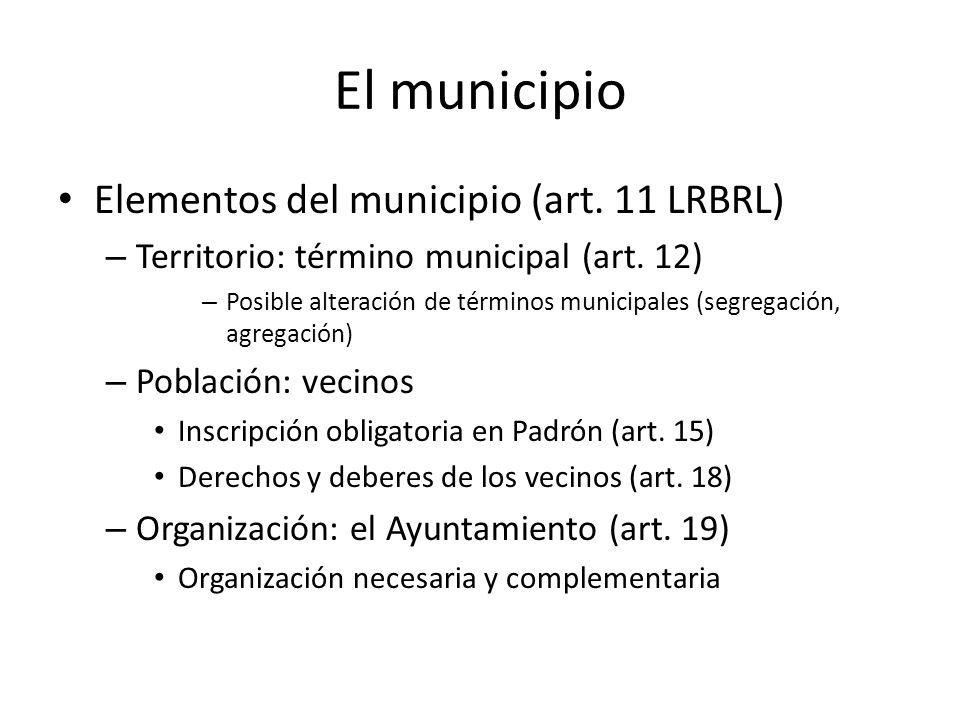 El municipio Elementos del municipio (art. 11 LRBRL)
