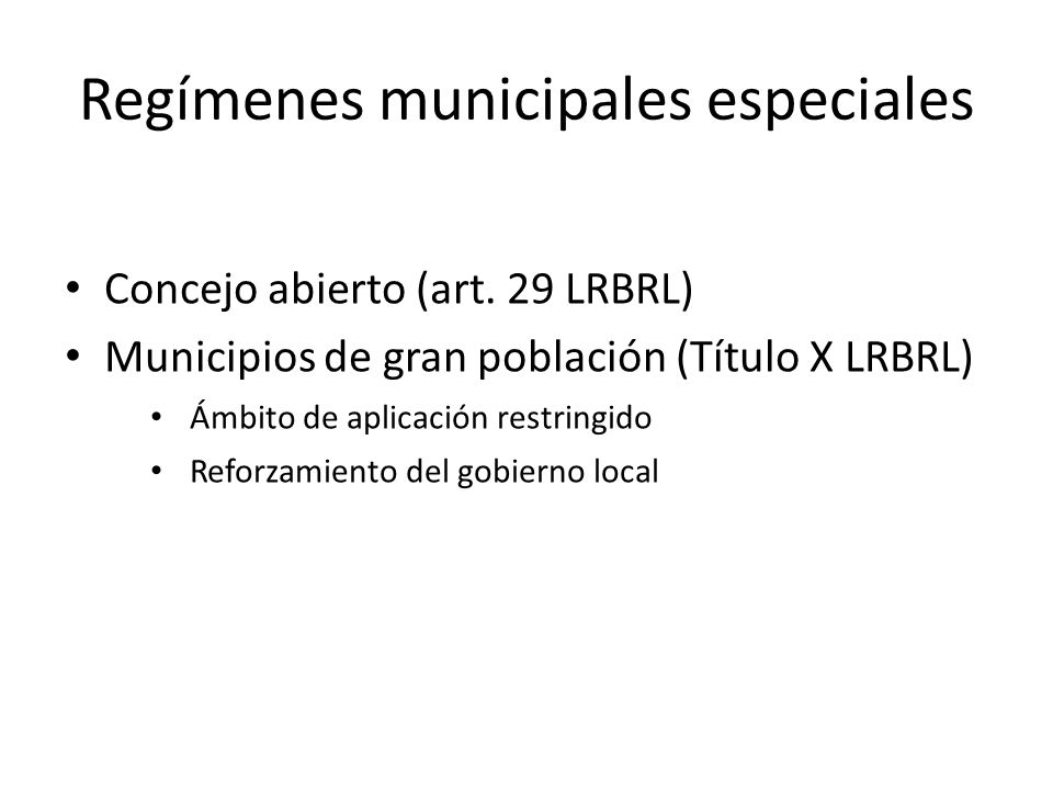 Regímenes municipales especiales